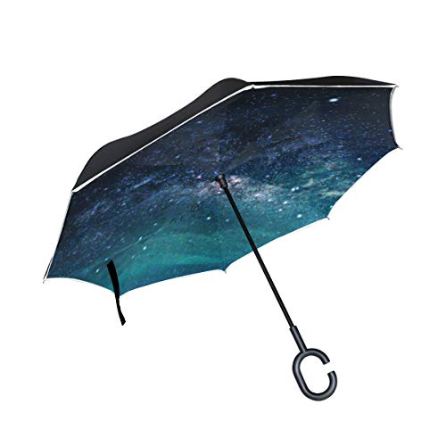 HYJDZKJY Double Layer Inverted Umbrella Autos Reverse Umbrella Galaxy Nebula Stars Universum Winddicht UV-Reiseschutz Outdoor Umbrella