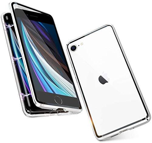 Custodia per iPhone SE 2020 Custodia iPhone 7 /8 Cover Magnetica Adsorbimento Tecnologia 360 Gradi Protezione completa Bumper in Metallo Cassa Prima e Dopo Trasparente Vetro Temperato Case,Argento