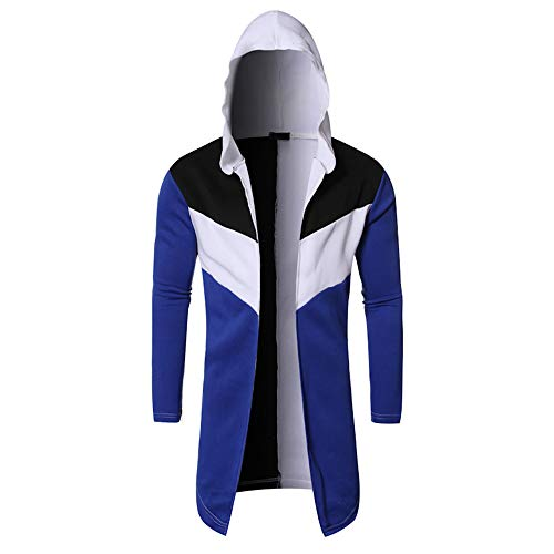 MENAB Men's Hooded Solid Trench Coat Jacket Open Front Hooded Cardigan Long Sleeve Outwear with Side PocketHooded Jacket Long Cardigan Black Ninja Goth Gothic Punk Hoodie New