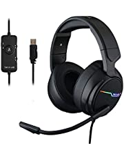 The G-LAB Korp THALLIUM Gaming Headset USB 7.1 Digital Surround Sound - Hoogwaardige Audio Gaming Headset - Ruisonderdrukkende Microfoon - RGB LED - Compatibel op PC & PS4 (Zwart)
