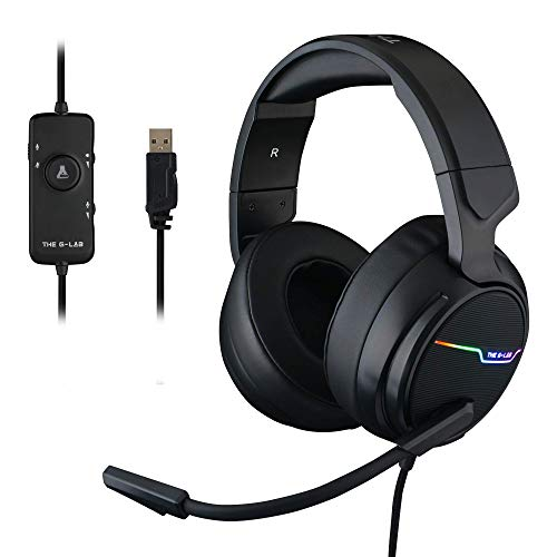 THE G-LAB Korp THALLIUM Cascos Gaming USB 7.1 Digital Surround - Auriculares Gaming - Micrófono con cancelación de ruido, LED RGB - Compatible con PC PS4 Mac (Negro)