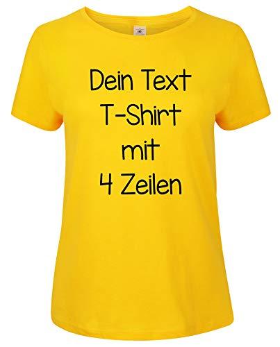 Damen T-Shirt Rundhals Bedrucken mit dem Amazon Tshirt Designer. T-Shirt selber gestalten. T-Shirt Druck. T-Shirt mit Wunschtext. T Shirts sind Ökotex-100 Zertifiziert. Gelb XXL
