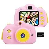 OCDAY Appareil Photo Enfants, Appareil Photo numérique Enfant Rechargeable, Selfie Enfant Rose 32 G, caméscope vidéo, Cadeaux d'anniversaire pour Les Filles de 3 à 10 Ans, Cadeaux pour Les Enfants