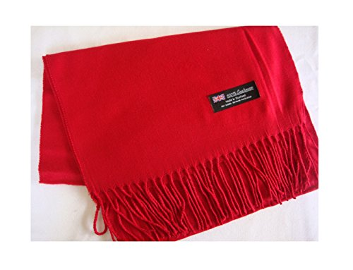 Price comparison product image Easy-W Red_Scarves Warm Thick Winter Scarf Solid Scotland Wool