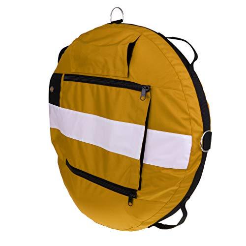 B Baosity Boya de Entrenamiento de Buceo Apnea Profesional, Flotador de Seguridad Inflable con Válvula de Alivio de Presión, Aparato de Inflar Oral - Amarillo