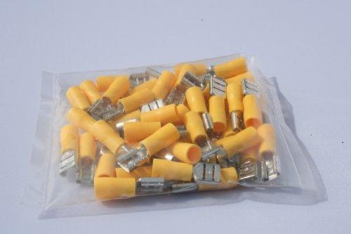 50 x Flachsteckhülse Kabelschuh 6,35 x 0,8 mm gelb für Kabel 4-6 mm²