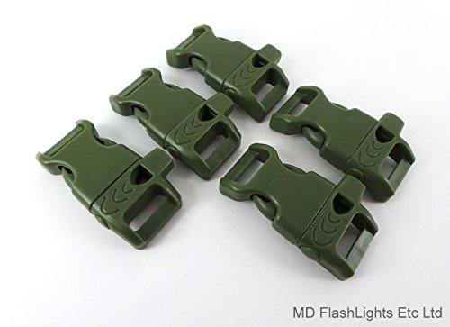 MD FlashLights Etc Ltd Lot de 5 Boucles en paracorde à libération Rapide avec sifflet de Survie à Hauteur de 13 mm Vert armée