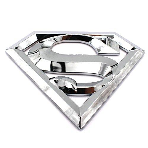 3D Emblem Superman Chrom Kunststoff mit Schaumstoff-Kleberückseite Badge von VmG-Store