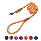 lynxking Braided Dog Rope Lead Leashes Pet Leash Dog Traction Rope Leashes Dog Walking Training Lead for Medium Large Dogs (4Feet Orange)