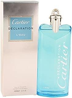 Declaration L'eau by Cartier Eau De Toilette Spray 3.3 oz for Men - 100% Authentic