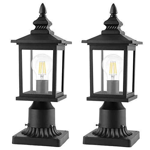 PARTPHONER 2 Pack Outdoor Post Lights with Pier Mount Base, Waterproof Outside Pole Lantern Light Fixture, Exterior Lamp Post Lantern Head with Clear Glass Panels for Garden, Patio, Pathway (6 Inch)