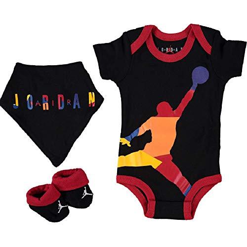 Nike Jordan, Juego de 3 piezas para bebés (0-6 meses, Jumpman negro/rojo/multi)