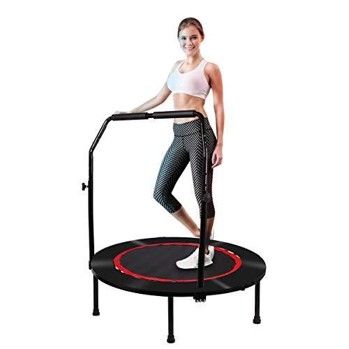 Trampolino Fitness Pieghevole da Ø 102 cm, con Manico Regolabile, Cuscinetto di Sicurezza, Rimbalzo per Esercizi, Mini Trampolino per Bambini Adulti e Interni