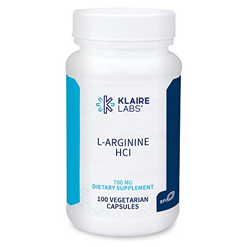 Klaire Labs L-Arginine HCl - 700 Milligrams Amino Acid for Nitric Oxide Synthesis, Immune & Energy Support (100 Capsules)