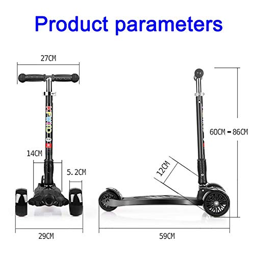 Lowest Price! PLLP Child Foldable Scooter-Scooter Kick Folding Flash Wheel Kick, Adjustable Shock Ab...