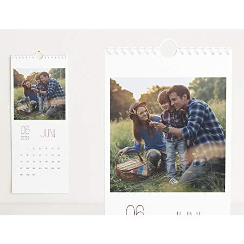 Fotokalender 2021 mit Veredelung in Roségold, Lieblingsjahr, Wandkalender mit persönlichen Bildern, Kalender für Digitale Fotos, Spiralbindung, Hochformat 148x360