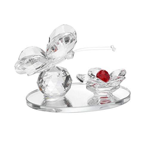 Youyu77 Home Oranment , Neuer Kristallschmetterling mit Kugelbasis Figur Sammlerstück Glas Ornament