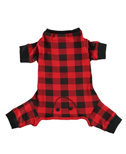 LazyOne Flapjacks, One-Piece Dog Sweater, Matching Family Pajamas for Dogs, Plaid (Large)