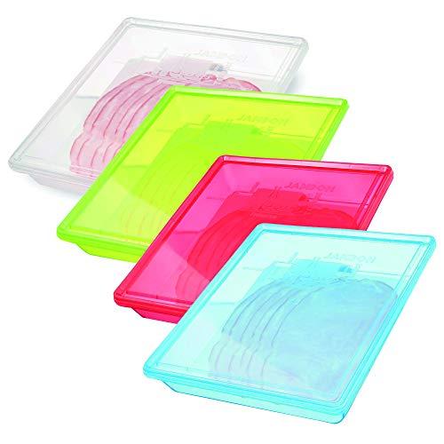 Easy Make - Set di 4 scatole di conservazione, 22 x 26 x 4,5 cm, con Apertura Facile, Ideali per conservare Salse, Formaggio, Salse, Salmone fumato, Hareng, Lardon, Terrina, Jambon, Design Francese
