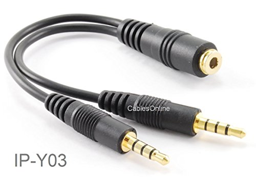 CablesOnline 3.5mm TRRS Female to Dual TRRS Male Stereo 4-Pole Splitter Cable, IP-Y03