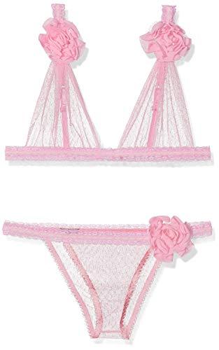 Leg Avenue dames Point D'Esprit Bra Top en bijpassende Braziliaanse panty 2 stuks