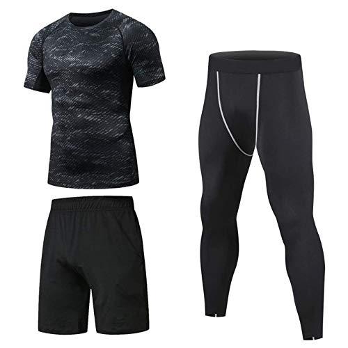 Niksa 3 Piezas Conjunto de Compresion Hombre, Camisetas Compression Mallas Running Pantalon Corto Deporte Ropa Deportiva Hombre para Running, Correr, Gym, Fitness L