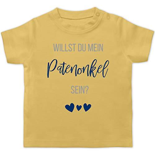 Zur Geburt - Willst du Mein Patenonkel Sein? Marine - 1/3 Monate - Hellgelb - Geschenk - BZ02 - Baby T-Shirt Kurzarm