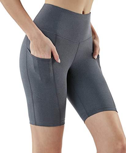 TSLA Women's High Waisted Bike Shorts, Workout Running Yoga Shorts, Athletic Stretch Exercise Shorts with Pocket, 8' Heather Charcoal, Small