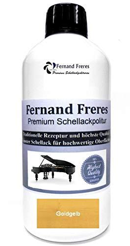 Schellackpolitur 500ml. Fernand Freres GOLD (Goldgelb) Klavierlack Hochglanz French Politur Schellack gebrauchsfertig Schelllack