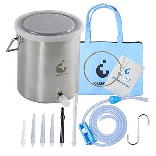 Topquafocus Large Enema Bulb Kit Anti-backflow Anal Douche Kit for Men Women Colon Cleansing Detox Enemas 10.8 oz Capacity 27.6inch Silicone Tubing 5 Tips Enema Kit