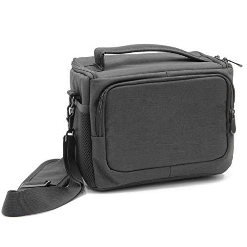 vhbw cámara Bolsa Lona/Forro Interior Suave Gris/Negro para Canon EOS Rebel T5, Rebel T5i, Rebel T6, Rebel T6i, Rebel T6s, Rebel T7i