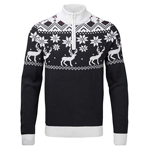 Snuggaroo, maglione natalizio da uomo in stile nordico, fatto a maglia, motivo: renna Navy,white - Zip L