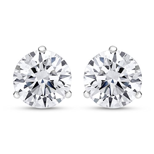 4 Carat IGI Certified Natural Round Brilliant Solitaire Diamond Stud Earrings for Women Platinum 3 Prong Martini Cocktail Push Back (F-G Color SI1-SI2 Clarity)