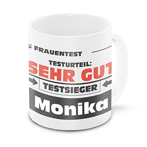 Namens-Tasse Monika mit Motiv Stiftung Frauentest, weiss | Freundschafts-Tasse - Namens-Tasse