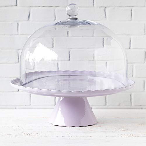 """Zauberhaft: Tortenplatte """"Sweet Flower"""" in Lavendel hell mit Glasglocke, Ø 34 cm"""