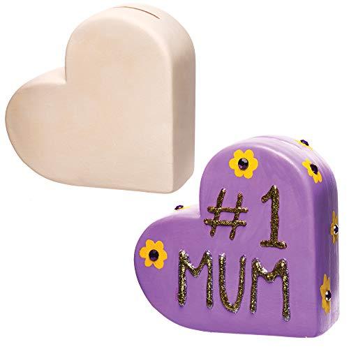 Baker Ross Huchas de cerámica con forma de corazón (Caja de 2) Manualidades infantiles para el Día de la Madre o San Valentín.