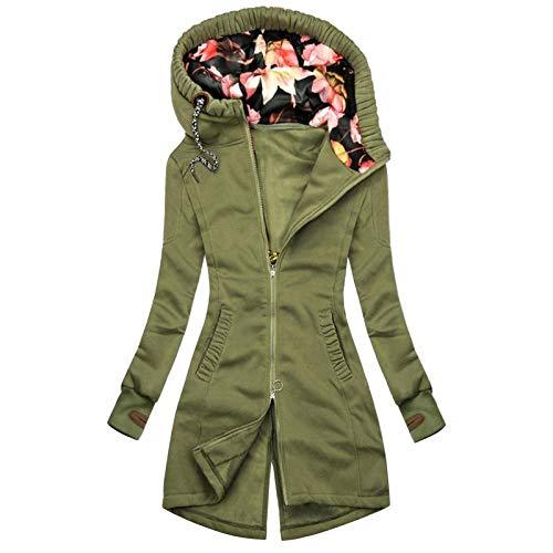 Auifor Damen Kapuzenpullover, Sweatshirt mit Reißverschluss,Herbst Winter Hoodie Kapuzenjacke Sweatjacke lang Mantel Jacke Mit Kapuze Lange Gefüttert(F-Grün,XX-Large)