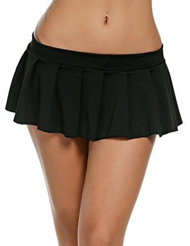 ADOME Women Sexy Lingerie Schoolgirls Mini Skirt Solid Pleated Sleepwear Nightwear Black