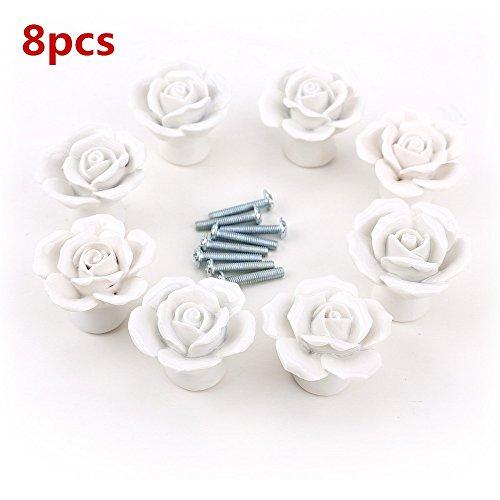 8 pomos de cerámica para puerta de armario, cajón, puerta, armario, armario, con diseño de flores, estilo vintage blanco