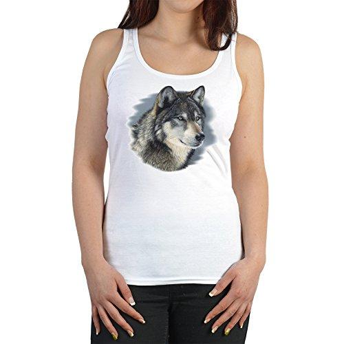 Goodman Design Wolf Trägershirt für Damen : Wolf - Tank Top Wolf/Tiere Farbe: Weiss Gr: L