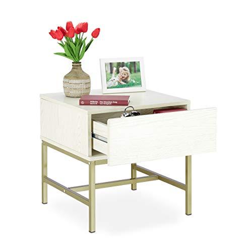 Relaxdays nachtkastje, wit, vierkante bijzettafel met lade, hout, gouden metalen frame, 50 x 50 x 50 cm, wit