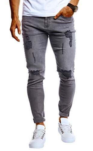 Leif Nelson Herren Jeans Hose Slim Fit Denim Blaue Schwarze Lange Jeanshose für Männer Coole Jungen weiße Stretch Freizeithose Graue Cargo Chino Sommer Winter Basic LN9150 Grau W29/L32
