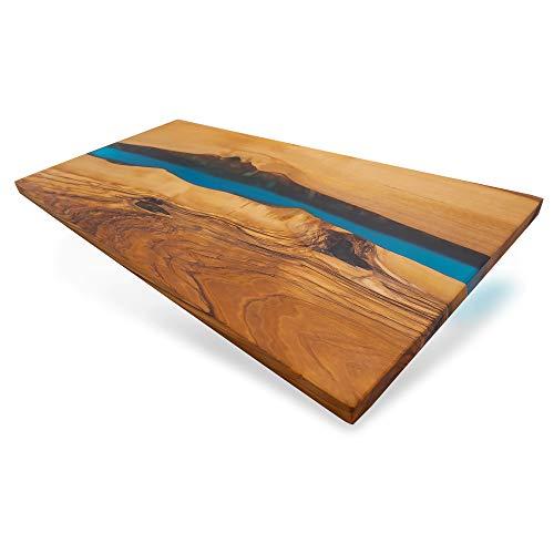 Eponox® Servierbrett River aus Olivenholz mit Epoxidharz, 46x23x1,5 cm, Servierplatte, Küchenbrett - Naturprodukt