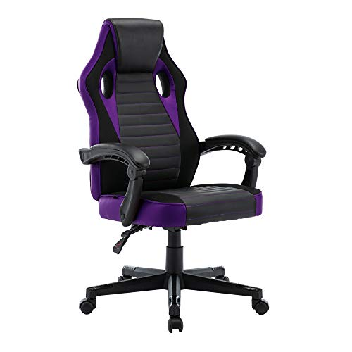 play haha. Gaming Chair Racing Style Office Swivel Computer Desk Chair Ergonomic Conference Chair Work Chair with Lumbar Support PU Leatherwith Adjustable Task Chair ,Gas lift SGS tested (Purple)