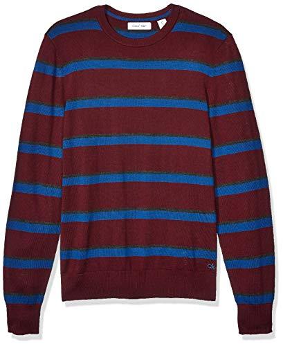 Calvin Klein Mens Merino Sweater Crew Neck, heartwood Stripe, 2X-Large