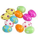 DIII - Set di uova in plastica riempibili pasquali, confezione da 12 pezzi, motivo assortito per la decorazione della casa, regalo per bambini