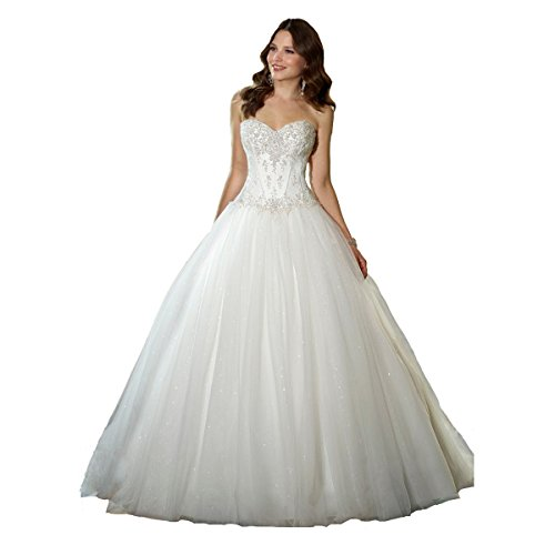 YIPEISHA Sweetheart Beaded Corset Bodice Classic Tulle Wedding Dress 18W Ivory