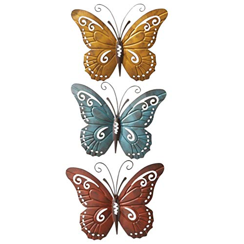 GARNECK 3 Unids Hierro Mariposa Arte de La Pared Metal 3D Mariposa Colgante de Pared Mariposas Escultura de Pared Decoración Colgante Manualidades de Mariposa Vintage para La Decoración