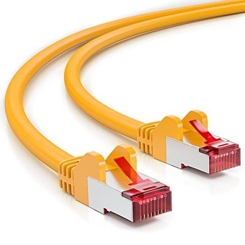 deleyCON 5m CAT6 Patchkabel S/FTP PIMF Schirmung CAT-6 RJ45 Netzwerkkabel Ethernetkabel LAN DSL Switch Router Modem Access Point Patchfelder - Gelb