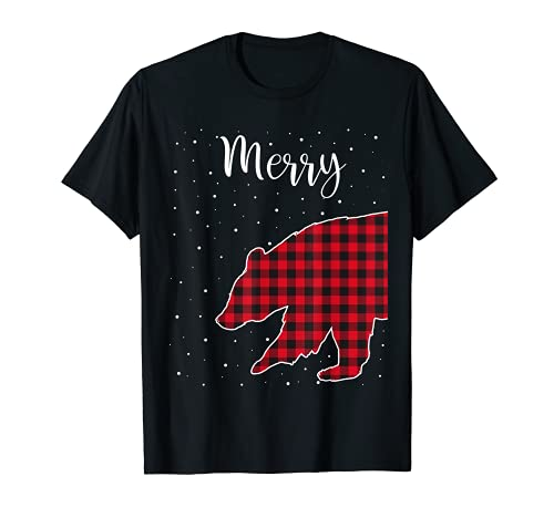 Feliz Navidad Rojo Plaid Buffalo Bear Parejas a juego Camiseta